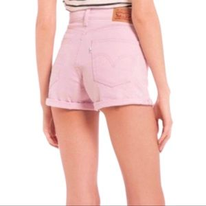 Levi's Rolled Hem Long Denim Shorts Pastel Pink 28